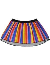Plus Size Rainbow Stripe Wonka Fancy Dress Pleated Tutu skirt