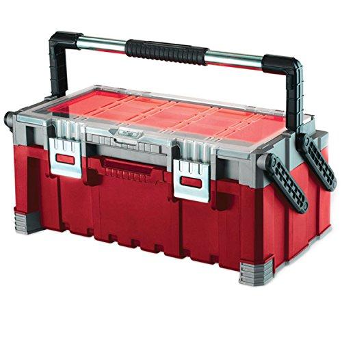Preisvergleich Produktbild Keter 17187311 Werkzeugbox inkl. Sortimentskasten Master Pro Serie Cantilever Tool Box 22 Zoll, Kunststoff, rot / silber