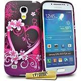 Accessory Master Housse en silicone pour Samsung Galaxy S4 Mini i9190 Motif Cœur/Fleurs Violet