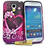 Accessory Master  - Cover in silicone per Samsung Galaxy S4 Mini i9190, motivo cuore fiorato, colore viola