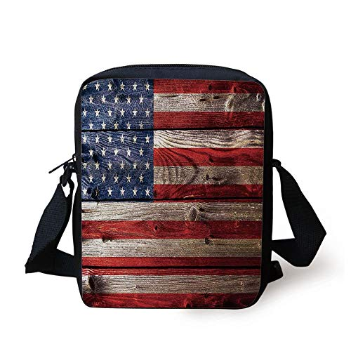 Rustic American USA Flag,Fourth of July Independence Day Weathered Retro Wood Wall Looking Country Emblem, Print Kids Crossbody Messenger Bag Purse