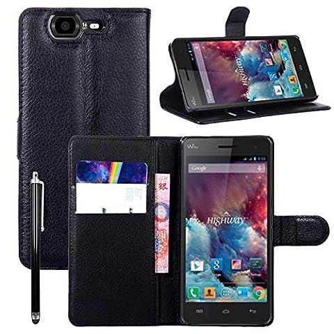 Owbb® Flip Housse Étui Coque de protection en PU cuir pour Wiko Highway 3G/4G Smartphone - Noir