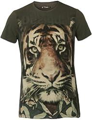 DESIGUAL Homme Designer Top T-Shirt - LION -