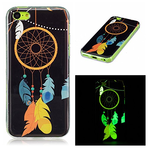 iPhone 5C Silicone Case,iPhone 5C Gel Case,Feeltech [Free 2 in 1 Black Stylus Pen] Luminous Effect Noctilucent Green Glow in the Dark Matte White Ultra Slim Soft Rubber Shock Absorber Flexible Bumper  Dreamcatcher della piuma