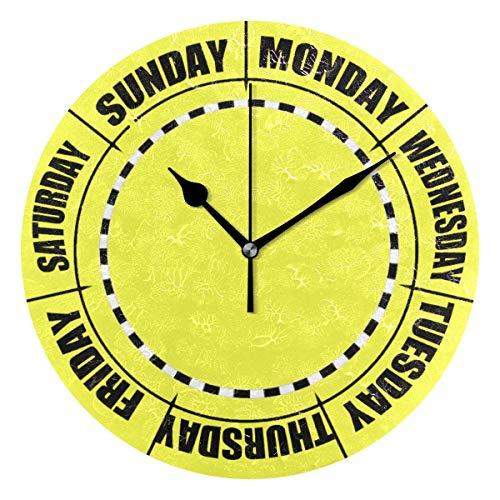 dfegyfr Wohnkultur Clock Week Light Blue Runde Stil, Silent Non-Ticking Wanduhr, batteriebetriebene Kunst dekorativ für Küche, Liv