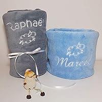 Plaid couverture personnalisée pour bébé, douce, BLANC, ROSE, CIEL ou GRIS, 105x75cm, cadeau de naissance, cadeau bébé, cadeau baptême, plaid poussette, plaid cosy