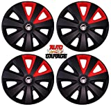 Hotwheelz Sporty Twin Colour 12-inch Wheel Cover with Rings (Black Red) -Set of