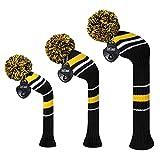 MEILI schwarze Farbe 3Strick-Set mit Headcover für Driver, Fairway Holz, Hybrid, langer Hals aus Holz, mit Pom Pom, Herren, Yellow Warning