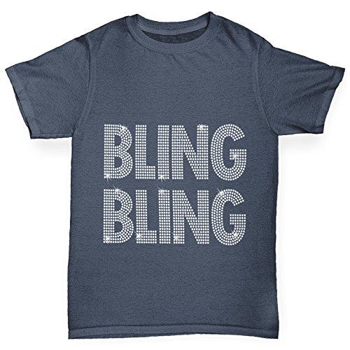 TWISTED ENVY Jungen T-Shirt Bling Bling Rhinestone Diamante Stass Age 12-14 Dunkelgrau