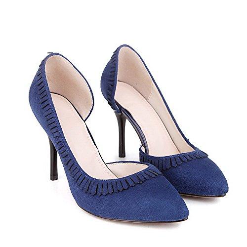 VogueZone009 Femme Fermeture D'Orteil Pointu Stylet Couleur Unie Tire Chaussures Légeres Bleu