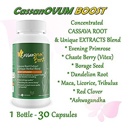 Cassanovum Boost, Fertility Supplement for egg quality and quantity, healthy uterine lining and increasesd cervical mucus, contains Cassava Root Extract and Unique Herbal Blend (Evening Primrose, Maca Root, Chaste Berry, Borage, Dandelion Root, Licorice R
