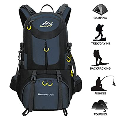 50L Hiking Backpack Waterproof Backpacking Outdoor Sport Daypack for Climbing Mountaineering Camping Fishing Travel Cycling Skiing(Dark blue) by Butterfly Studio NO.1