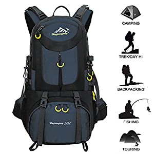 51C2nuRkUUL. SS300  - 50L Hiking Backpack Waterproof Backpacking Outdoor Sport Daypack for Climbing Mountaineering Camping Fishing Travel Cycling Skiing(Dark blue)