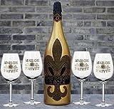 D. Rock Champagner 1,5 L Magnum mit 4 schwarzen Champagnergläsern inkl. französischer Lilie & Geschenknachricht | Diamond Kristall Champagne mit über 1000 geschliffenen Schmuckkristallen | jede Flasche ein Unikat. Das Luxus Geschenk für Männer und Frauen.