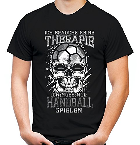 Therapie Skull Handball Männer und Herren T-Shirt   Sport Totenkopf     (L, Schwarz)