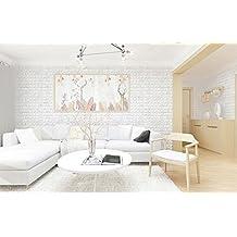 STRIR 1pcs 3D Patrón de ladrillo Papel pintado Autoadhesivo DIY PE Espuma Azulejo de la decoración de la pared 60*30 cm (Blanco)