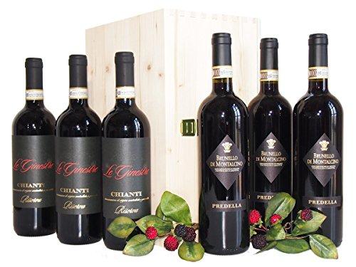 Brunello di Montalcino e Chianti i Migliori Vini Toscani - Elegante e Prestigioso Regalo Cassetta Vini Della Toscana - cod 54a