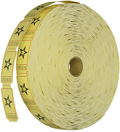 1 X Yellow Star Single Roll Tickets (2000 tickets) - Bulk