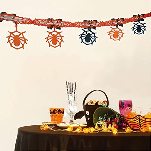 Amcool Neu 2M Halloween Party Deko Set -Grusel Party-Girlanden Krepp Deko-Set, Girlande Kürbis, Spinne, Totenkopf, Fledermaus