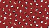 Christmas Fabric–0.5metre–vintage Christmas etichette cornici–MAK397–by Makower Vintage Baubles Scatter Red MAK402