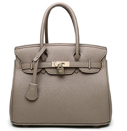 HandbagCrave® Kandy Goldene Hardware 30cm Vorhängeschloss Handtasche mit Top Zipper Schultergurt (Dunkelgrau) (Hermes Tasche)