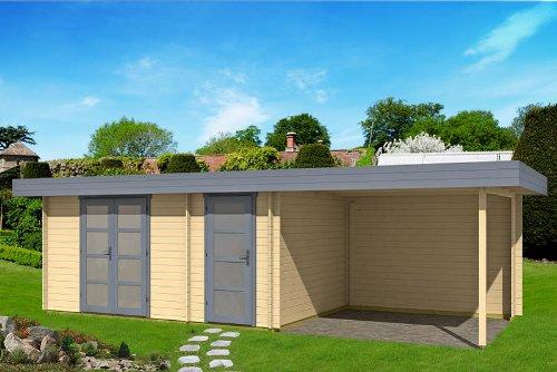 Gartenhaus ORIENTAL IV 40 - SD300 mit Schleppdach 470x320+300cm 40mm Blockhaus