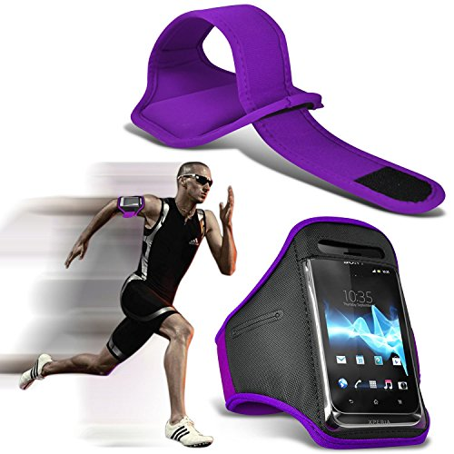 ( Dark Purple 143 x 71.4 ) HTC 11 case High Quality Fitted Sports Armbands Running Bike Cycling Gym Jogging Ridding Arm Band case cover by i-Tronixs - Htc Elf