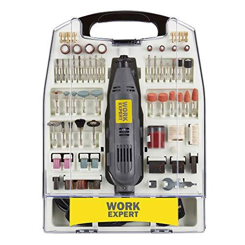 Work Expert 135W - Juego de lijadora giratoria multiherramienta, engraver, molinillo, control variable de 7 velocidades, con 233 accesorios