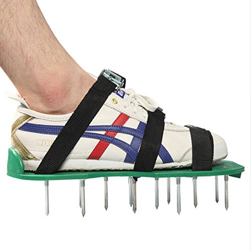 Pawaca Rasenbelüfter Schuhe, 1Paar Größe universal Rasen Belüften Spike Schuhe mit 6Riemen und robuste Metall Schnallen für Belüften Ihren Garten Rasen oder Hof Schwarz
