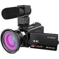 Andoer 4K 1080P 48MP Wi-Fi, fotocamera, videocamera digitale, registratore con Novatek Master 96660, 3'', touch screen, visione notturna a infrarossi, zoom 16x, microfono esterno