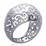 Ring for Women Rhodium plated Sterling Silver Lacework - EU Size 66 - Paris France Jewelry - Bijoux à gogo - 45641