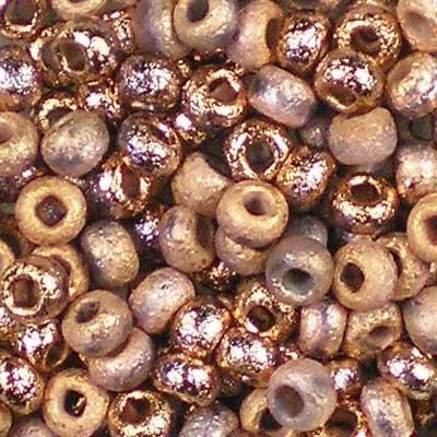 10 gr (su 190 pezzi) 6/0 (3,7-4,3mm) Ceco Perline tonde con una finitura unica acquaforte chimica, Etched Crystal Capri Gold Full