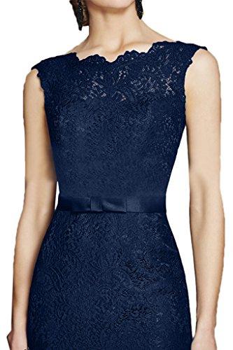 ivyd ressing da donna alla moda elegante in pizzo girocollo di alta qualità della linea abito del partito Prom abito Fest vestito abito da sera Dunkelblau
