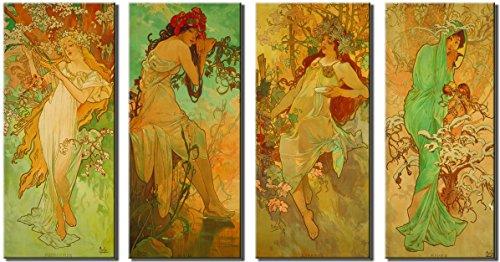 Time4art Alphons Alfons Mucha Print Canvas 4 Bild 4 x 60x30cm Die vier Jahreszeiten Jugendstils...