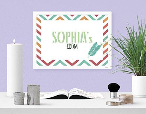 Personalisierte böhmische gestreifte Feder Mädchen Raum digital kunst drucken mauer dekor poster (Digital Dekor)