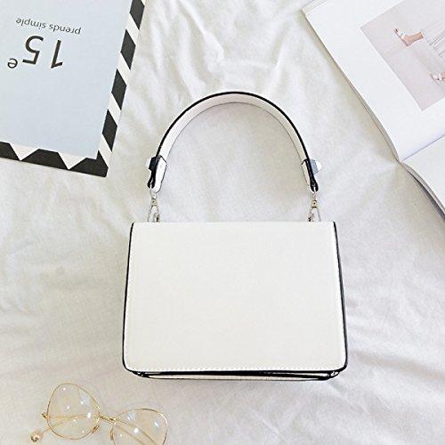 Damen Handtaschen Kleine Quadratische Tasche Mode Umhängetasche. PU Ledertasche Kreuz Körper Tasche Clutch White
