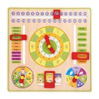 JINKAKA Children Daily Cognitive Calendar Teaching Clock Hanging Board Wooden Early Education Puzzle Learning Toy, Time Date Season Weather