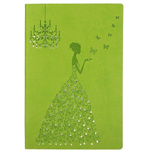 Mädchen Für Passwort Tagebuch (hossty A5Größe PU Leder Diary Notebook geprägt Notizblock Planer Schmetterling Prinzessin Reise Tagebuch Einband (200Seiten) Einheitsgröße grasgrün)