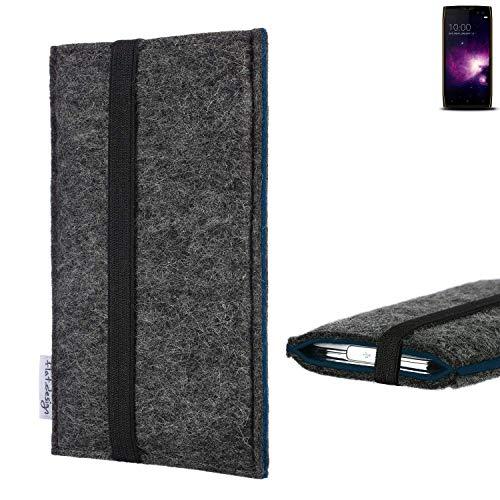 flat.design Handyhülle Lagoa für Doogee S50   Farbe: anthrazit/blau   Smartphone-Tasche aus Filz   Handy Schutzhülle  Handytasche Made in Germany