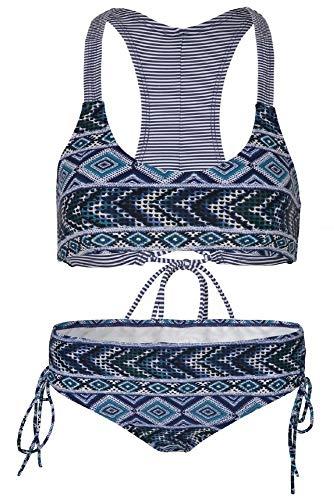 Denim Bikini (La-V Mädchen Bikini Zweiteilig Jeans-Blau/Größe 170/176)