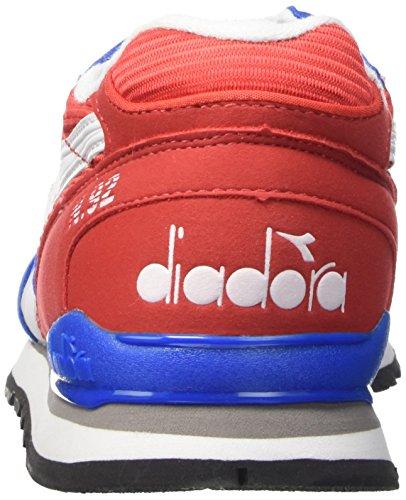 Diadora N-92, Pompes à plateforme plate mixte adulte Multicolore (C6133 Rosso Papavero/Azzurro)
