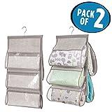 mDesign 2er-Set Baby Organizer – Kleiderschrank Organizer mit 5 Fächern – Stoff Hängeaufbewahrung für Decken, Babysachen oder Handtücher – grau