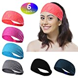 6 Pieces Sports Headbands perfect for Yoga/Cycling/Running/Fitness, Great Elastic Exercise Hairband or Sweatband for Unisex
