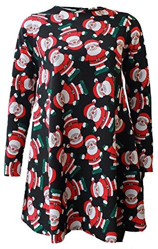 Chocolate Pickle® Nouveau Dames Santa Neige Homme Tartan Noël Thème Imprimer évasé Balançoire Robe 36-54 Black Santa