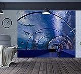 Papier Peint Murales Salon Personnalisé Home Decor Sous-Marin Tunnel Requins Dauphins Tv Fond Aquarium Papier Peint Décor Mural, 300Cmx210Cm