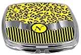Rikki Knight Compact Mirror, Letter N Initial Yellow Leopard Print And Stripes