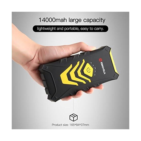 EMIGVELA Jump Starter de 14000mAh, 500A Arrancador de Coche, Multifuncion de Linterna LED, Bateria Externa