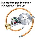 CAGO Gasregler 30 mbar Druckminderer Druckregler mit Manometer und Schlauchbruchsicherung Gasschlauch 200 cm