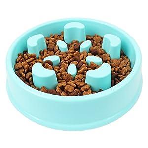 Almondcy-pet Chien Slow Feed Gamelle, Fun, Interactive Feeder, Slow Feed et Boire de l'eau Bol pour chiens, Ralentir manger, éviter les ballonnements et d'étouffement, respectueux de l'environnement durable non toxique Plastique rigide Gamelle Bol (Bleu)