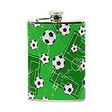 tizorax Fußball Tor und Fußball Sport Boden Edelstahl Flachmann, Pocket Schnabelkanne, Camping Wein Topf, Geschenk für Männer oder Frauen, 8oz